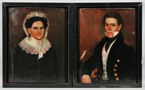 Thomas Ware (Vermont, 1803-1836)    Pair of Portraits of a Gentleman and His Wife