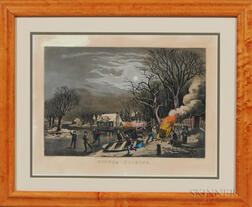 Currier & Ives, Publishers (American, 1857-1907) Lithograph Winter Evening