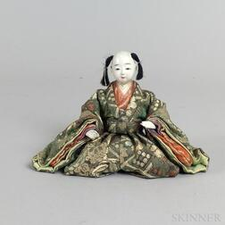 Small Carved and Painted Wood and Fabric Seated Figure
