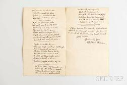 Stevenson, Robert Louis (1850-1894) Autograph Letter Signed and Poem from Moral Emblems, Bonwallie Towers, Bournemouth, 10 November [no