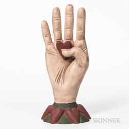 Carved and Painted Heart in Hand