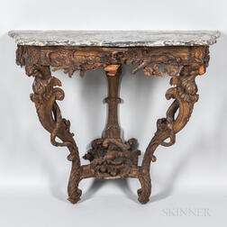 Baroque Marble-top Carved Walnut Console
