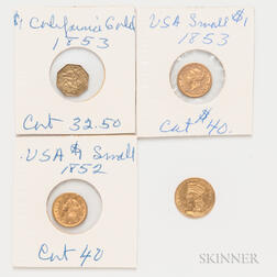 Three Gold Dollars and an 1853 California Gold Dollar