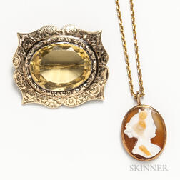 14kt Gold Cameo Necklace and a Low-karat Gold and Citrine Brooch