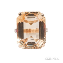 Retro 14kt Bicolor Gold and Citrine Ring