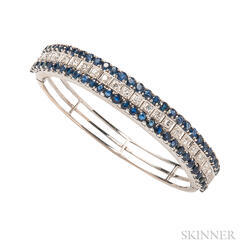 14kt White Gold, Sapphire, and Diamond Bracelet