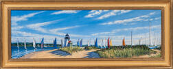 Illya Kagan (Massachusetts, 20th Century)      Untitled (Sailboats and a Lighthouse)