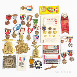 Group of Spanish American War, WWI, and Some WWII Medals