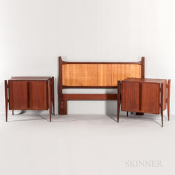 Jorgen Clausen for Brande Mobelfabrik Pair of Nightstands and Headboard