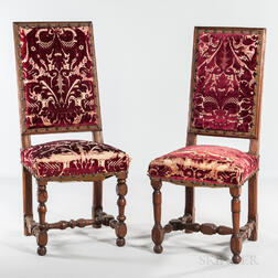 Near Pair of Louis XIV Walnut Upholstered Side Chairs