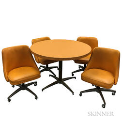 Orange Pedestal Table with Four Swivel Chairs on Casters