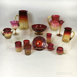 Fourteen Pieces of Amberina Glass