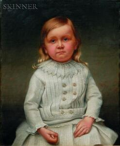 American School, 19th Century    Portrait of a Seated Child in White