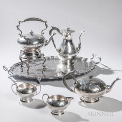 Five-piece Birks Sterling Silver Tea and Coffee Service with Associated Silver-plate Tray