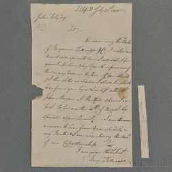 Tallmadge, Benjamin (1754-1835) Autograph Letter Signed, Litchfield, Connecticut, 31 July 1810.