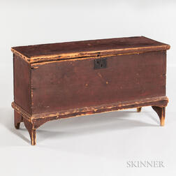 Small Early Red-painted Blanket Chest
