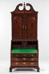 Carved Mahogany Scroll-top Desk Bookcase