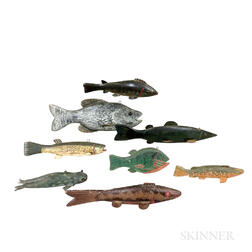 Eight Painted Wood Ice Fishing Decoys