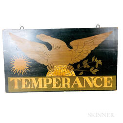 "Paint-decorated and Stenciled ""Temperance"" Sign"