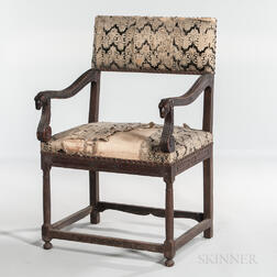 Louis XIII Walnut Upholstered Open Armchair