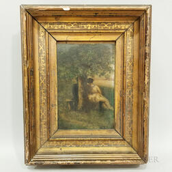 Framed Continental School Oil on Board Work Depicting Lovers by a Tree