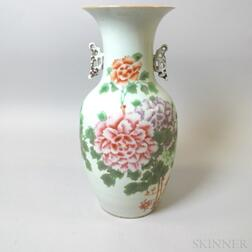 Large Chinese Floral-decorated Porcelain Handled Vase
