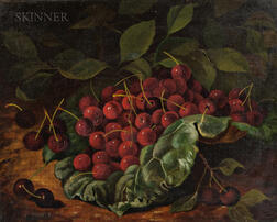 Albert Francis King (American, 1854-1945)      Still Life with Cherries in a Cabbage Leaf