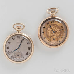 Two 14kt Gold Gruen Open-face Watches