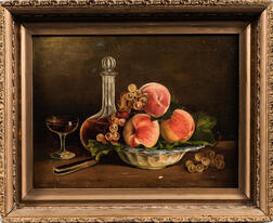 American School, 19th Century      Still Life with Peaches and a Decanter