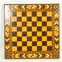 Walnut, Rosewood, and Maple Marquetry Checkerboard
