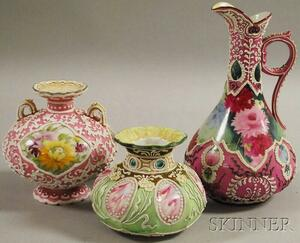Two Japanese Moriage Ware Porcelain Vases and an Ewer
