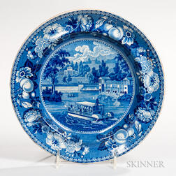 """Transfer-decorated Historical Blue Staffordshire """"Dam or Water Works Philadelphia"""" Plate"""