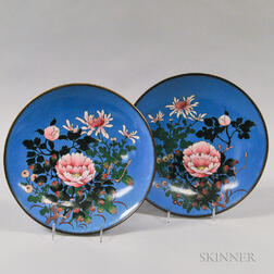 Two Cloisonne Peony Plates
