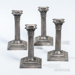 Four Gorham Sterling Silver Candlesticks