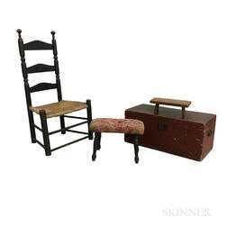 Country Black-painted Ladder-back Chair, Two Stools, and a Box.     Estimate $200-250
