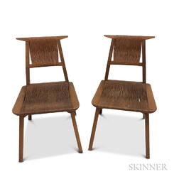 Two Chairs with Woven Rush Seats and Backs