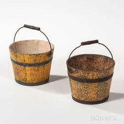 Two Small Yellow-painted Berry Pails