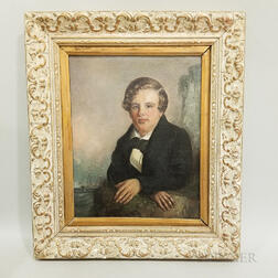 Framed Oil on Canvas Portrait of a Man and a British Sailing Vessel