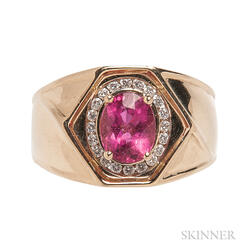 14kt Gold, Pink Tourmaline, and Diamond Ring