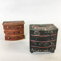 Two Miniature Painted Tin and Wood Chests of Drawers