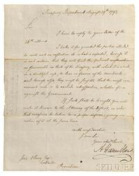 Hamilton, Alexander (1755-1804) Letter Signed, Treasury Department, Philadelphia, 19 August 1793.