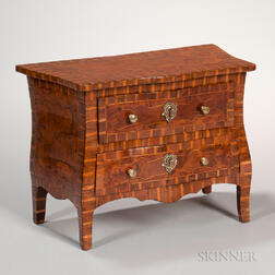 Miniature Italian Inlaid Fruitwood Chest of Drawers