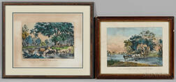 Two Currier & Ives, Publishers (American, 1857-1907) Lithographs: The Nearest Way to Summer Time