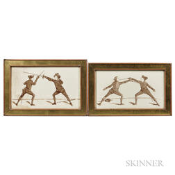 Two Framed Ceramic Plaques Depicting Fencers
