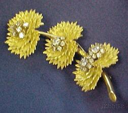 18kt Gold and Diamond Flower Brooch, France