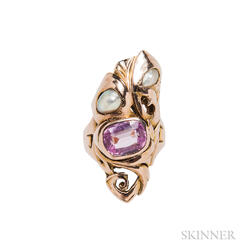 14kt Bicolor Gold, Pink Sapphire, and Freshwater Pearl Ring, Kalo