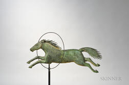Molded Copper and Cast Iron Horse Jumping Through Hoop Weathervane