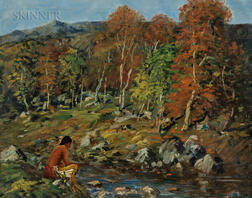 Arthur Clifton Goodwin (American, 1866-1929)      Landscape with Indian by a Stream