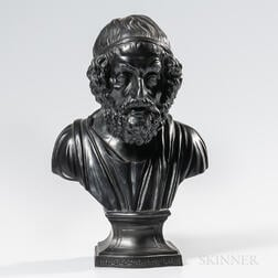 Wedgwood & Bentley Black Basalt Bust of Homer