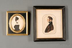 Two Framed 19th Century Miniature Watercolor Portraits on Paper Depicting a Lady and   a Gentleman